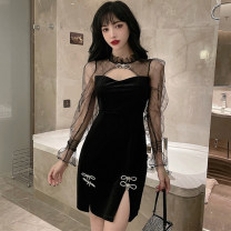 Dress Spring 2021 black S,M,L Short skirt singleton  Long sleeves commute High waist Solid color Socket other 25-29 years old Bowknot, hollow out, stitching, mesh More than 95% other other