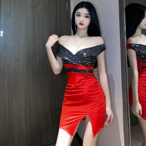 Dress Spring 2021 gules S,M,L Short skirt singleton  Sleeveless commute V-neck High waist Solid color Socket One pace skirt routine camisole Type H Ol style Backless, stitching, sequins 6018-1 31% (inclusive) - 50% (inclusive) brocade polyester fiber