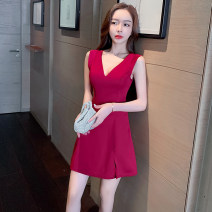 Dress Summer 2021 White, red, green, black S,M,L,XL,2XL Short skirt singleton  Short sleeve commute V-neck High waist Solid color Socket A-line skirt routine Others Type A Splicing 31% (inclusive) - 50% (inclusive) knitting polyester fiber