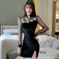 Dress Spring 2021 black S,M,L Short skirt singleton  Long sleeves commute stand collar High waist Solid color zipper One pace skirt routine 25-29 years old Type H Bowknot, hollow out, stitching, mesh More than 95% other polyester fiber