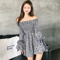 Dress Spring 2021 Black, red S,M,L Short skirt singleton  Long sleeves commute One word collar High waist lattice Socket A-line skirt raglan sleeve Breast wrapping 25-29 years old Type A Korean version Bow, tuck, fold, lace up 2115# More than 95% other cotton
