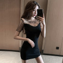 Dress Summer 2021 Green, black S,M,L,XL Short skirt singleton  Short sleeve commute Crew neck High waist Solid color Socket One pace skirt other camisole Type A Korean version Open back, stitching, zipper five thousand six hundred and sixteen # 31% (inclusive) - 50% (inclusive) other other