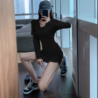 Dress Autumn 2020 Gray, black S,M,L Short skirt singleton  Long sleeves commute High waist Solid color Socket Pencil skirt routine 25-29 years old More than 95% knitting cotton