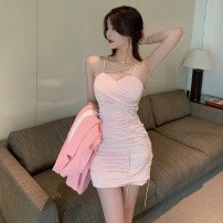 Dress Summer 2021 Black, pink S,M,L,XL Short skirt singleton  Sleeveless commute V-neck High waist Solid color Socket A-line skirt other camisole 18-24 years old Type A Korean version Hollow out, inlaid with diamond, open back, chain, fold, zipper 71% (inclusive) - 80% (inclusive) Silk and satin