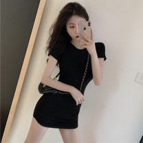 Dress Spring 2020 White, black S,M,L Miniskirt singleton  Short sleeve commute Crew neck High waist Solid color Socket One pace skirt routine Others T-type Korean version 81% (inclusive) - 90% (inclusive) other cotton