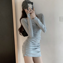 Dress Autumn 2020 Gray, black S,M,L Short skirt singleton  Long sleeves commute V-neck High waist Solid color Socket A-line skirt routine Others 25-29 years old Type A Korean version Tuck, fold, button More than 95% other cotton
