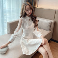 Dress Spring 2021 White, black S,M,L Short skirt singleton  Long sleeves commute Crew neck High waist Solid color zipper One pace skirt shirt sleeve Others Type A 31% (inclusive) - 50% (inclusive) other other