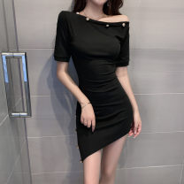 Dress Spring 2021 black S,M,L Short skirt singleton  Short sleeve commute One word collar High waist Solid color Socket Irregular skirt routine Others Type A Asymmetry 3089# 31% (inclusive) - 50% (inclusive) other cotton