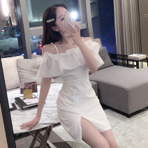 Dress Summer 2020 White, black S,M,L Short skirt singleton  Short sleeve commute One word collar High waist Solid color Socket One pace skirt other camisole Type A 31% (inclusive) - 50% (inclusive) other other