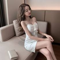 Dress Summer 2021 White, red, black S,M,L Short skirt singleton  Sleeveless commute V-neck High waist Solid color zipper One pace skirt camisole Type H Korean version Ruffle, pleat, open back, stitching, zipper 31% (inclusive) - 50% (inclusive) other other