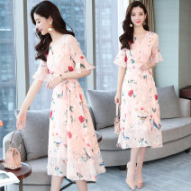 Dress Summer 2020 Picture color S,M,L,XL,2XL,3XL Miniskirt singleton  Short sleeve commute V-neck High waist Decor Socket Big swing pagoda sleeve Others 25-29 years old Type H Korean version Frenulum Chiffon