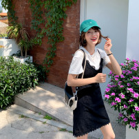 Dress Summer 2020 black S,M,L Middle-skirt Two piece set Short sleeve commute V-neck Solid color A-line skirt routine camisole Type A The Farr family Korean version Embroidery