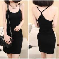 Dress Summer 2020 White, black, safety Pants White Average size Middle-skirt Sleeveless Sweet One pace skirt camisole Other / other