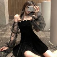 Dress Summer 2020 black S. M, l, XL, 2XL, XXXs pre-sale Miniskirt singleton  Long sleeves Sweet One word collar High waist Socket Gauze 51% (inclusive) - 70% (inclusive) polyester fiber