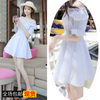 Dress Summer of 2018 Average size Short skirt singleton  commute One word collar middle-waisted Solid color Socket puff sleeve camisole 18-24 years old Other / other Korean version 51% (inclusive) - 70% (inclusive) other cotton