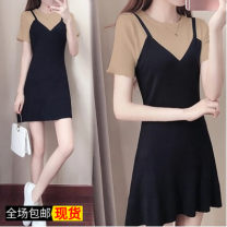 Dress Summer of 2019 longuette Fake two pieces Short sleeve commute V-neck High waist Solid color Socket A-line skirt routine camisole 18-24 years old Type A Other / other 30% and below other