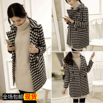 woolen coat Winter of 2019 S. M, l, XL, 2XL, 3XL, XXXs children's code pre-sale Picture color Cashmere 31% (inclusive) - 50% (inclusive) routine Long sleeves commute double-breasted routine houndstooth  Straight cylinder Other / other Solid color cotton Tweed