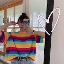T-shirt Dark stripe, light stripe, white leggings M,L,XL,2XL Summer 2021 Short sleeve Crew neck easy Super short routine commute other 86% (inclusive) -95% (inclusive) 18-24 years old Korean version originality Other / other