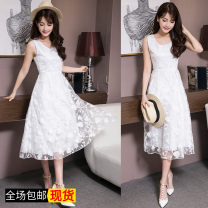 Dress Summer of 2019 white S. M, l, XL, 2XL, XXXs pre-sale Mid length dress singleton  Sleeveless commute Crew neck High waist Solid color Socket Big swing routine Others Type A Other / other Korean version Lace 81% (inclusive) - 90% (inclusive) Lace nylon
