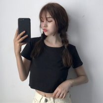 T-shirt White, black, leggings, white M,L,XL,2XL Summer 2021 Short sleeve Crew neck Self cultivation Super short other commute other 71% (inclusive) - 85% (inclusive) 18-24 years old Korean version youth Solid color Other / other Splicing