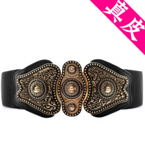 Belt / belt / chain top layer leather Black (suitable for waist 62-80cm) female Waistband ethnic style Single loop Youth, middle age a hook soft surface 6cm alloy other