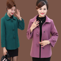 Middle aged and old women's wear leisure time Jacket / jacket easy singleton  Solid color 40-49 years old Cardigan moderate Polo collar Medium length (length 50-70cm) routine Button Polyester, others Single breasted