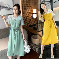 Nursing clothes Yellow, green M,L,XL,2XL Nursing clothes Socket summer Short sleeve Medium length Korean version Fake two pieces stripe Side opening Bamboo fiber