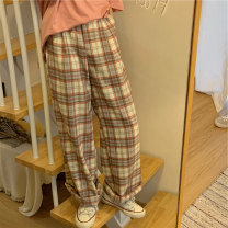 Women's large Summer 2020, spring 2020 Plaid pants M (recommended 80-100 kg), l (recommended 100-120 kg), XL (recommended 120-140 kg), 2XL (recommended 140-160 kg), 3XL (recommended 160-180 kg), 4XL (recommended 180-200 kg) trousers singleton  commute thin lattice Korean version other 18-24 years old