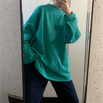 Women's large Autumn 2020 Gray, white, green, blue, black Large L, large XL, m, 2XL, 3XL, 4XL singleton  easy Socket Long sleeves Solid color Crew neck Medium length routine 18-24 years old 30% and below