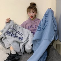 Women's large Spring 2020, winter 2020, autumn 2020 Sky blue, light purple, silver gray Large L, large XL, m, 2XL, 3XL, 4XL singleton  easy thickening Socket Long sleeves letter Hood Medium length routine 18-24 years old 30% and below