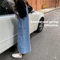 Women's large Spring 2021, summer 2021, autumn 2021 wathet S,M,L,XL,2XL,3XL,4XL Dress singleton  commute Sleeveless Korean version 18-24 years old Medium length