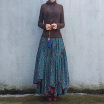 skirt Spring 2016 S,M,L,XL,2XL Mid length dress Versatile Natural waist Irregular Broken flowers Type A 31% (inclusive) - 50% (inclusive) other Other / other hemp