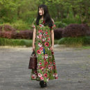 Dress Summer of 2018 Green flowers One size fits all, s, 122 long Mid length dress singleton  Short sleeve commute Crew neck Loose waist Decor Socket Pleated skirt routine Others 30-34 years old Type A Self made literature Fold, pocket, print Art dress flq0135 81% (inclusive) - 90% (inclusive) other