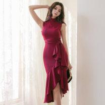 Dress Spring 2020 claret S,M,L,XL Miniskirt singleton  Sleeveless stand collar High waist Solid color Ruffle Skirt Type H brocade