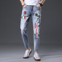 Jeans other Others 28,29,30,31,32,33,34,36 wathet routine Ninth pants Other leisure Four seasons youth middle-waisted Chinese style 2020 Pencil pants zipper Enzyme washing printing No iron treatment