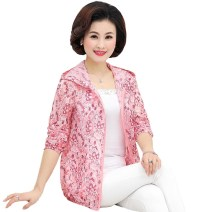 Middle aged and old women's wear Summer of 2018 fashion Jacket / jacket easy singleton  Decor 40-49 years old Cardigan thin Hood Short (length 35-50cm) routine pocket polyester zipper