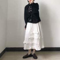 skirt Spring 2021 Average size Cotton cake lace skirt white, cotton cake lace skirt black longuette commute High waist A-line skirt Solid color Type A 25-29 years old other cotton Splicing