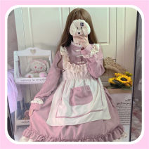 Dress Autumn 2020 Pink patchwork dress, Navy patchwork dress S,M,L Middle-skirt Fake two pieces Long sleeves Sweet Crew neck Elastic waist Solid color Princess Dress routine 18-24 years old Other / other Bow, tuck solar system