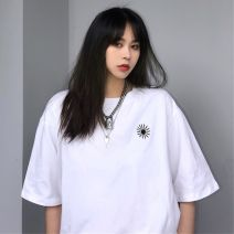 T-shirt White, black Average size Summer 2020 Short sleeve Crew neck easy Regular routine street cotton 31% (inclusive) - 50% (inclusive) 18-24 years old classic Other / other Embroidery Hip hop