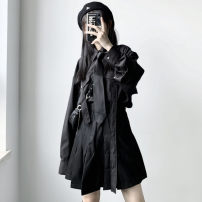 shirt Pleated skirt, shirt Average size Autumn 2020 other 96% and above Long sleeves street Medium length Single row multi button routine Solid color 18-24 years old Button Punk