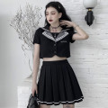 Dress Summer 2020 Top + skirt S,M,L Short skirt Two piece set Short sleeve commute Admiral High waist Single row two buttons Pleated skirt routine 18-24 years old Type A 9069# 91% (inclusive) - 95% (inclusive) polyester fiber