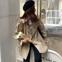 Lace / Chiffon Autumn 2020 Black, Khaki S,M,L Long sleeves commute Medium length tailored collar Solid color routine 18-24 years old Pocket, lace up, button Korean version 30% and below