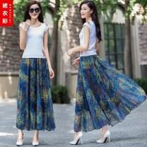 skirt Summer of 2019 S. M, l, XL, 2XL, custom shot longuette Versatile High waist Ruffle Skirt Decor Type A 81% (inclusive) - 90% (inclusive) Chiffon other Ruffle, print 81g / m ^ 2 (including) - 100g / m ^ 2 (including)