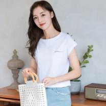 T-shirt White, pink, black S,M,L,XL,2XL Summer 2021 Short sleeve Crew neck Self cultivation Regular Bat sleeve commute cotton 86% (inclusive) -95% (inclusive) 30-39 years old Korean version originality Letters, solid color Other / other printing