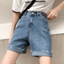 Women's large Summer 2020 blue Big L, big XL, big XXL, big XXXL, big XXXXL, big M Jeans singleton  street easy moderate Solid color Denim, other Three dimensional cutting LA-8809D2 Jingqianni 18-24 years old Button 71% (inclusive) - 80% (inclusive) Pant tassels Europe and America