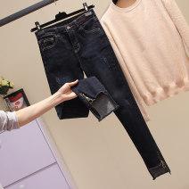 Women's large Spring 2021 black Jeans singleton  Sweet easy moderate Denim printing and dyeing Jingqianni pocket Ninth pants