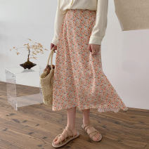 skirt Spring 2021 Average size Pink Middle-skirt High waist A-line skirt other 18-24 years old DX599 91% (inclusive) - 95% (inclusive) other Other / other other Print, medium length skirt