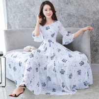Dress Summer 2020 White, black, navy 2XL,3XL,M,L,XL Mid length dress singleton  elbow sleeve commute Crew neck middle-waisted Decor Socket Big swing pagoda sleeve Others 25-29 years old Type A Korean version Fold, stitching, zipper, 3D, printing 31% (inclusive) - 50% (inclusive) Chiffon