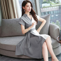 Dress Summer of 2019 Graph color Mid length dress singleton  Short sleeve commute V-neck middle-waisted stripe Socket Irregular skirt other Others Type A Other / other Korean version Frenulum 51% (inclusive) - 70% (inclusive) other polyester fiber