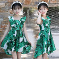 Dress Summer of 2018 green Middle-skirt singleton  Sleeveless Loose waist other other Princess sleeve Others Under 17 Type A printing 51% (inclusive) - 70% (inclusive) other
